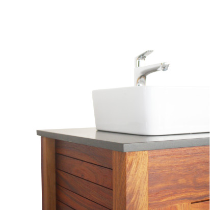 Solid wood bathroom vanity in Kiaat - slatted