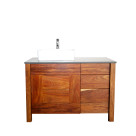Solid wood bathroom vanity in Kiaat