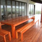 outdoor table and benches - solid wood - Kiaat