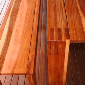 outdoor table and benches-closeup
