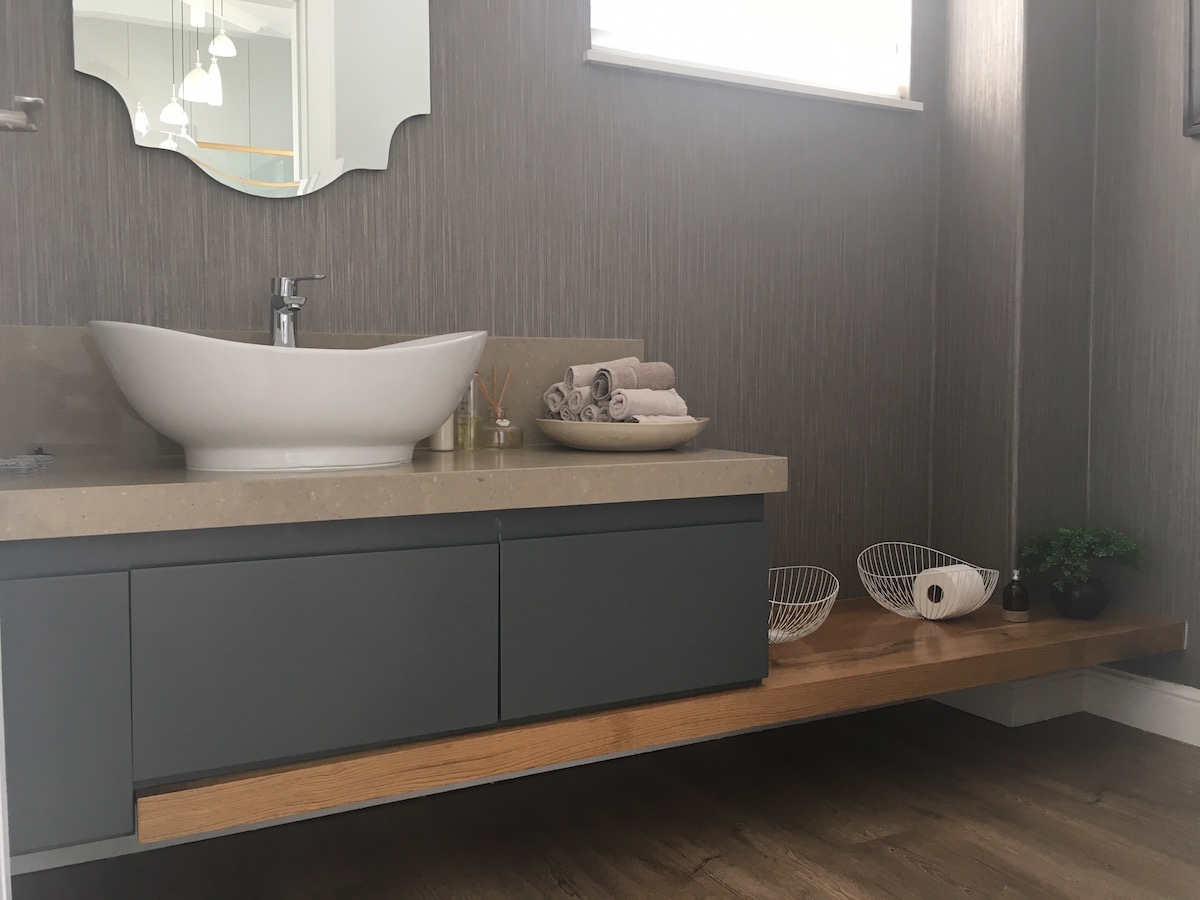 The Goodwood Co Modern Floating Vanity In Stone And Oak